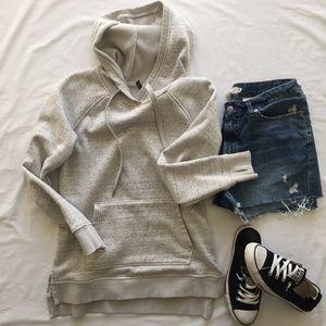 Tops - Women's Gray Hoodie Kangaroo Pocket